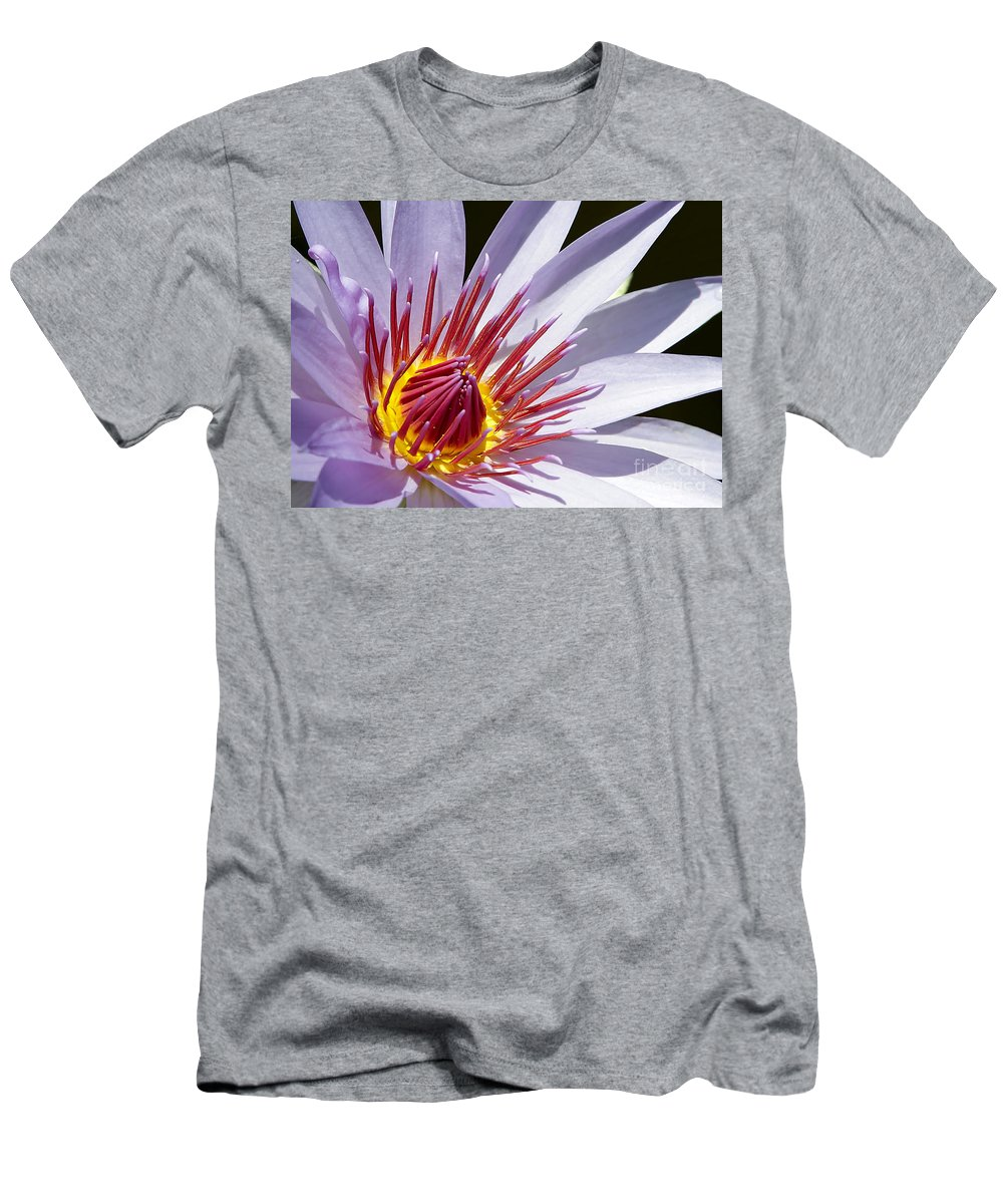 Macro Men's T-Shirt (Athletic Fit) featuring the photograph Water Lily Soaking Up The Sun Light by Sabrina L Ryan