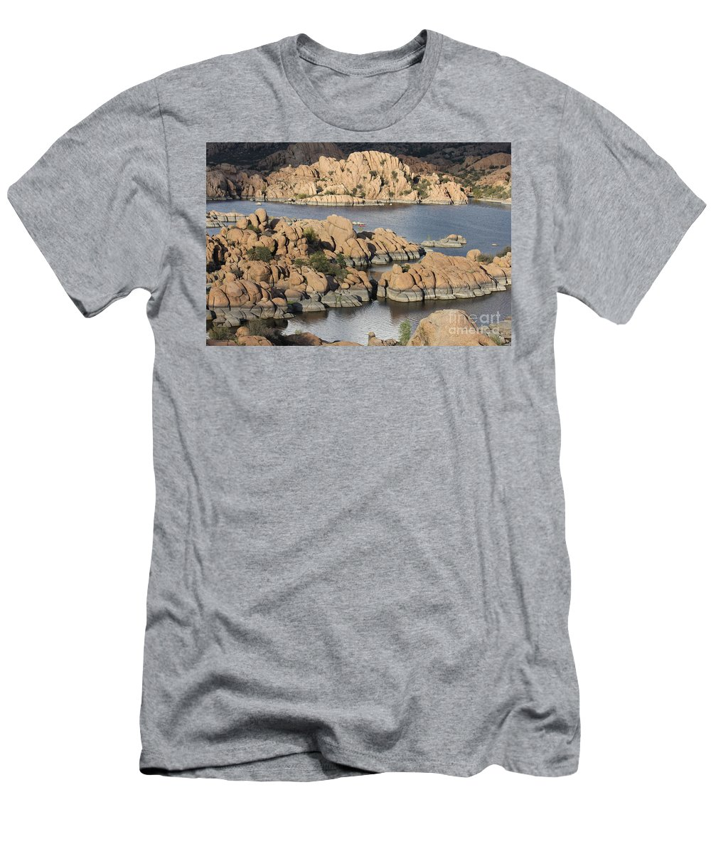 Watson Lake Men's T-Shirt (Athletic Fit) featuring the photograph Watson Lake 4 by Diane Greco-Lesser
