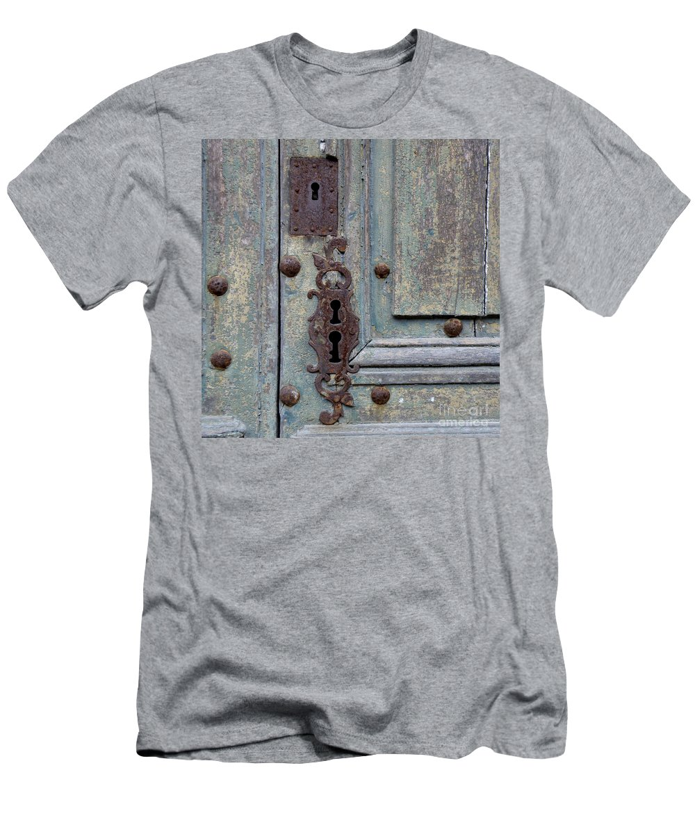 Door Men's T-Shirt (Athletic Fit) featuring the photograph Weathered by Lainie Wrightson