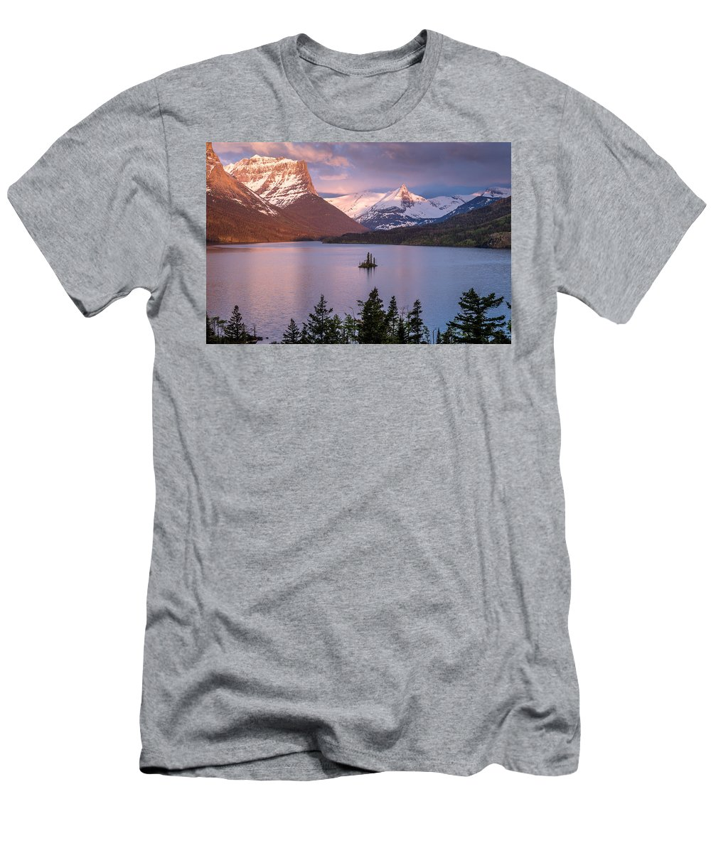 Glacier National Park Men's T-Shirt (Athletic Fit) featuring the photograph Wild Goose Island 3 by Greg Nyquist