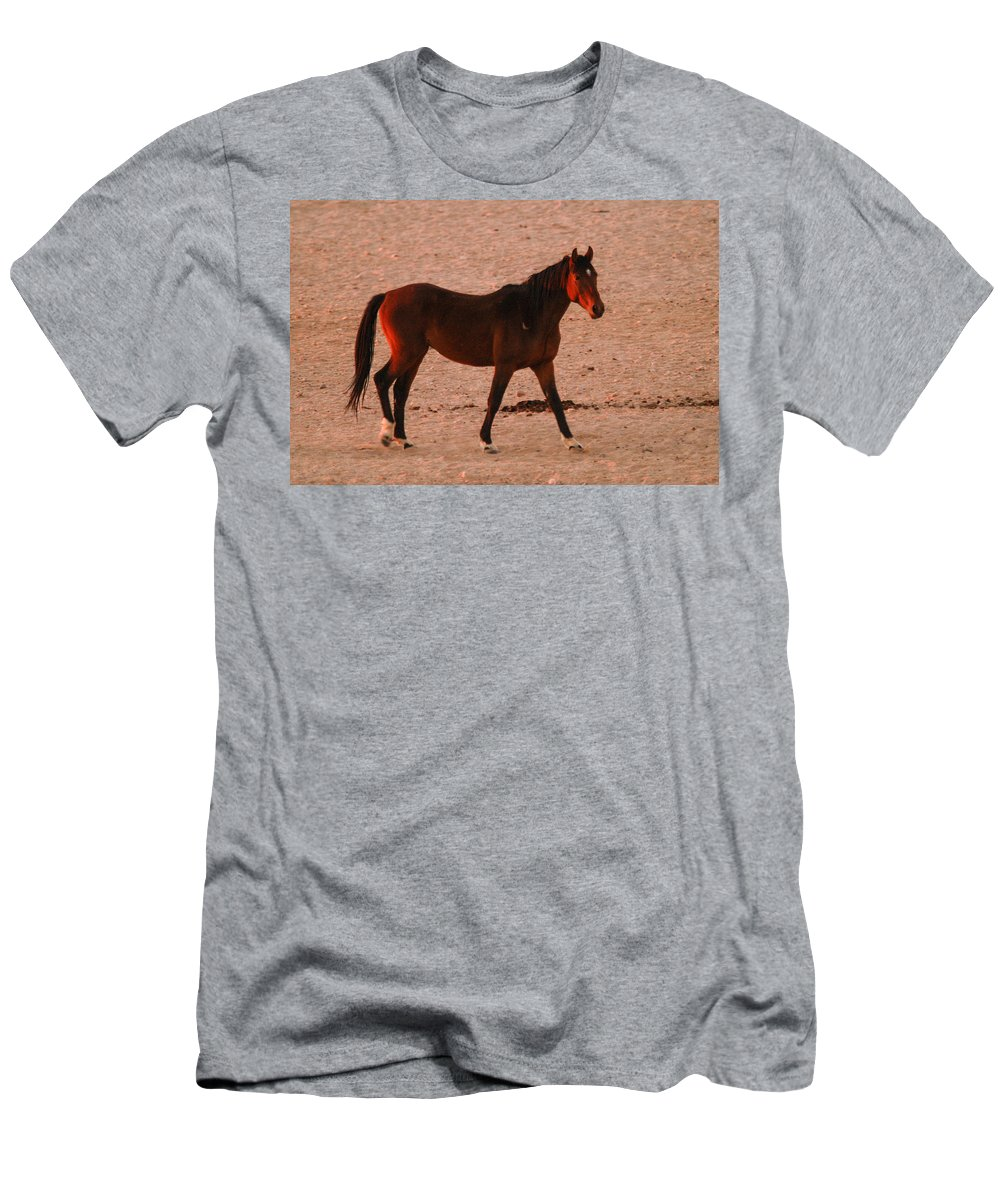 Action Men's T-Shirt (Athletic Fit) featuring the photograph Wild Stallion by Alistair Lyne