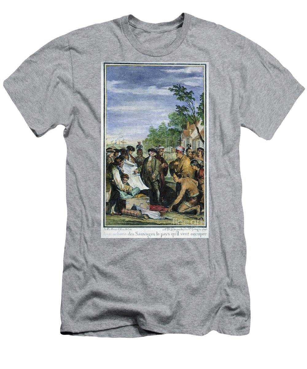 1682 Men's T-Shirt (Athletic Fit) featuring the photograph William Penns Treaty, 1682 by Granger