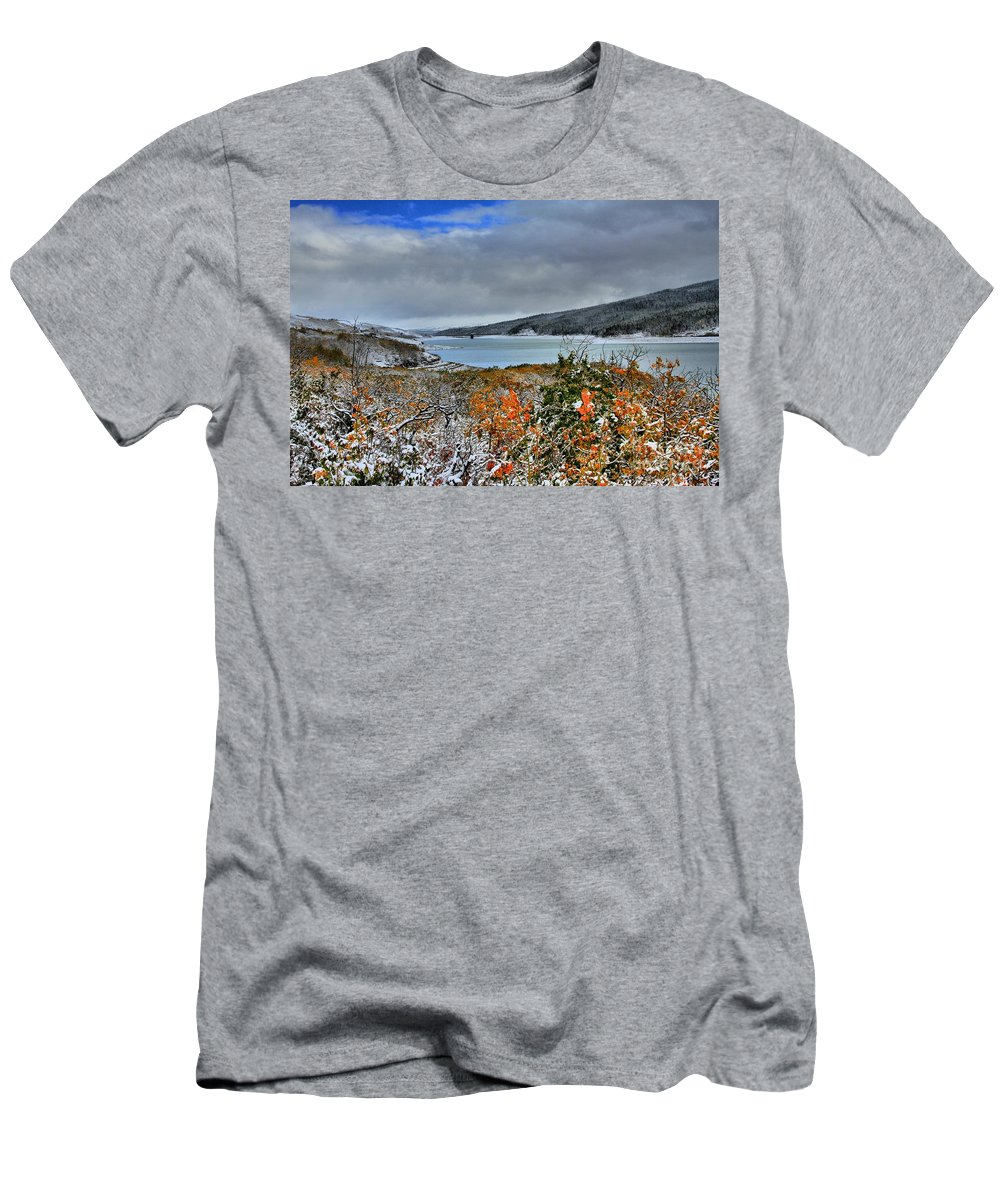 Glacier National Park Men's T-Shirt (Athletic Fit) featuring the photograph Wintry Dusting by Adam Jewell