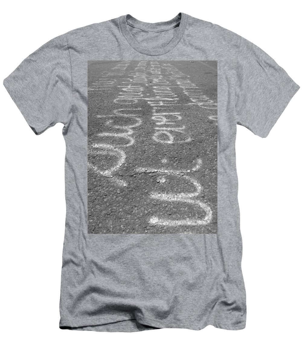 Graffitti Men's T-Shirt (Athletic Fit) featuring the photograph Writing On The Road by Michele Nelson