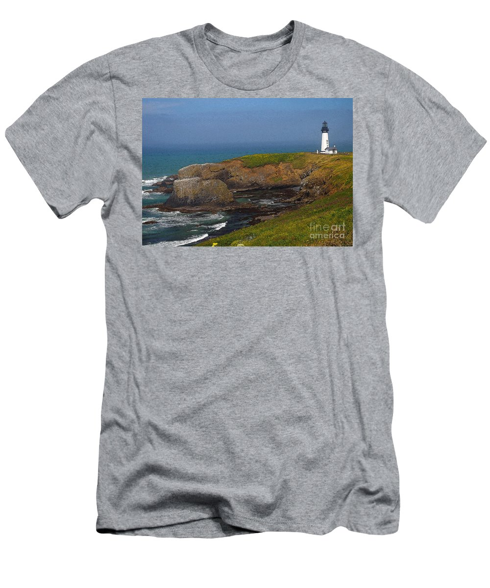 Oregon Men's T-Shirt (Athletic Fit) featuring the photograph Yaquina Head Lighthouse And Bay - Posterized by Rich Walter
