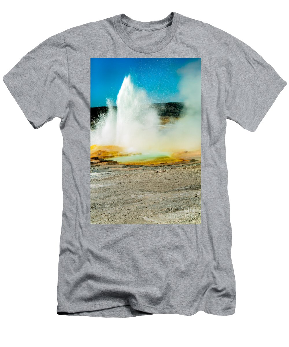 Paint Pots Men's T-Shirt (Athletic Fit) featuring the photograph Yellowstone Geysers by Robert Bales