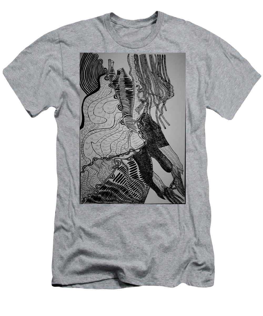 Jesus Men's T-Shirt (Athletic Fit) featuring the drawing Yoruba Bata Dance From Nigeria by Gloria Ssali