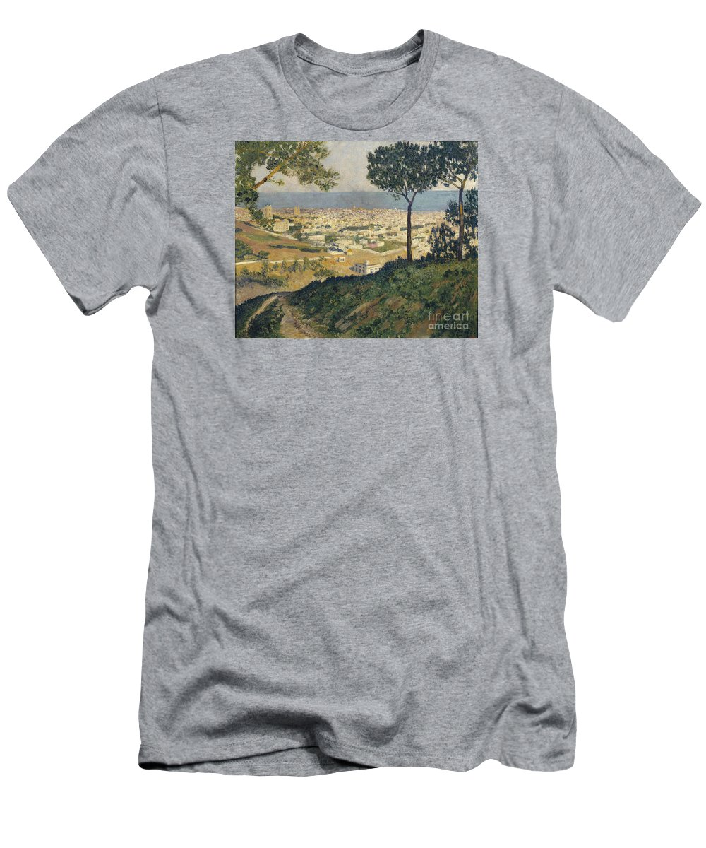 Dar�o De Regoyos Men's T-Shirt (Athletic Fit) featuring the painting Barcelona Seen From Vallvidrera by Celestial Images