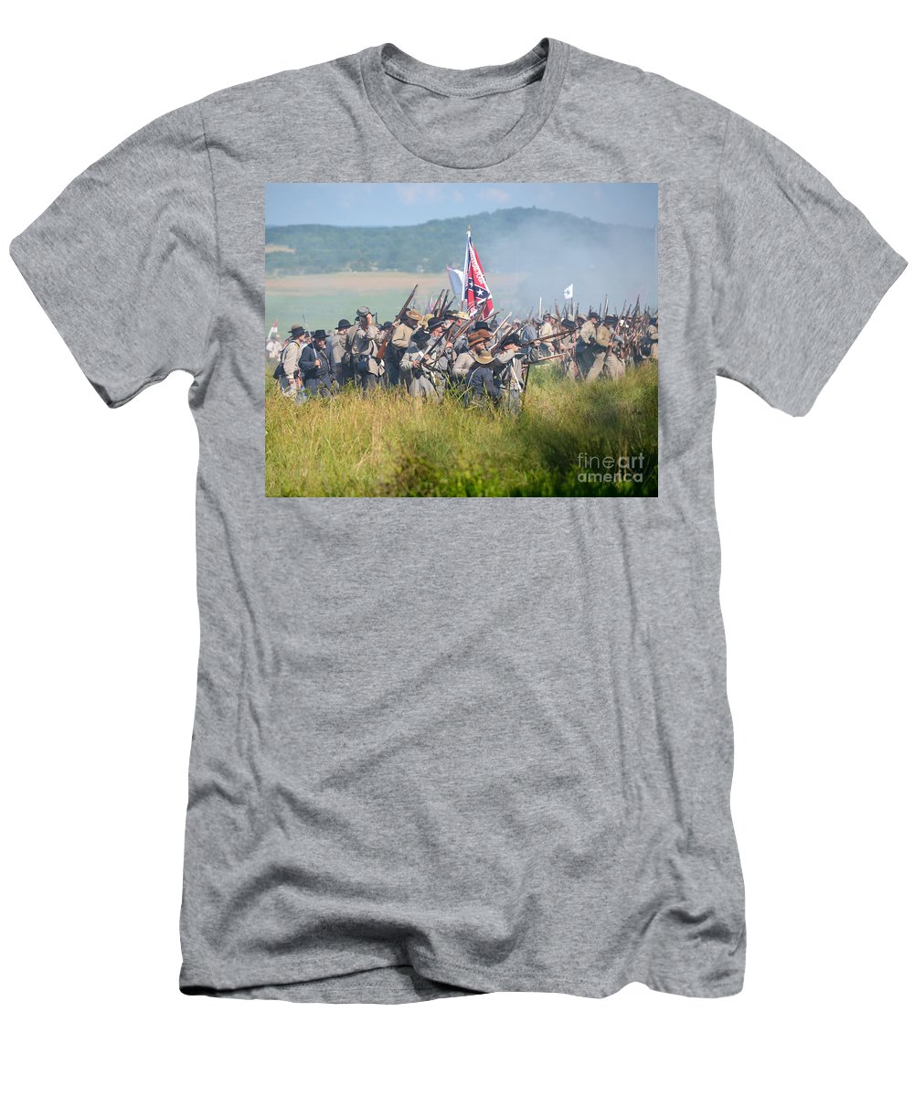 150th Men's T-Shirt (Athletic Fit) featuring the photograph Gettysburg Confederate Infantry 9214c by Cynthia Staley