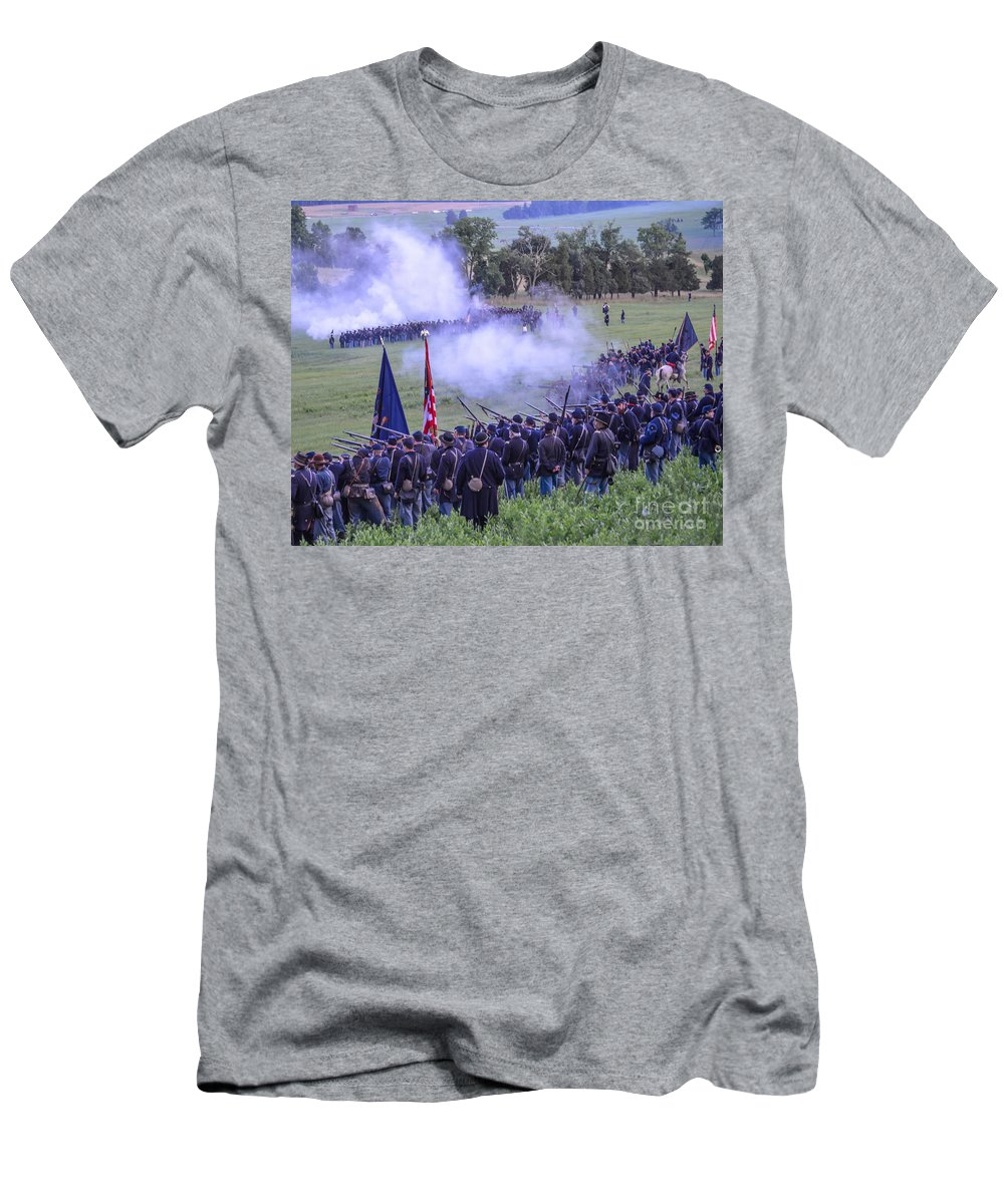 150th Men's T-Shirt (Athletic Fit) featuring the photograph Gettysburg Union Artillery And Infantry 7496c by Cynthia Staley