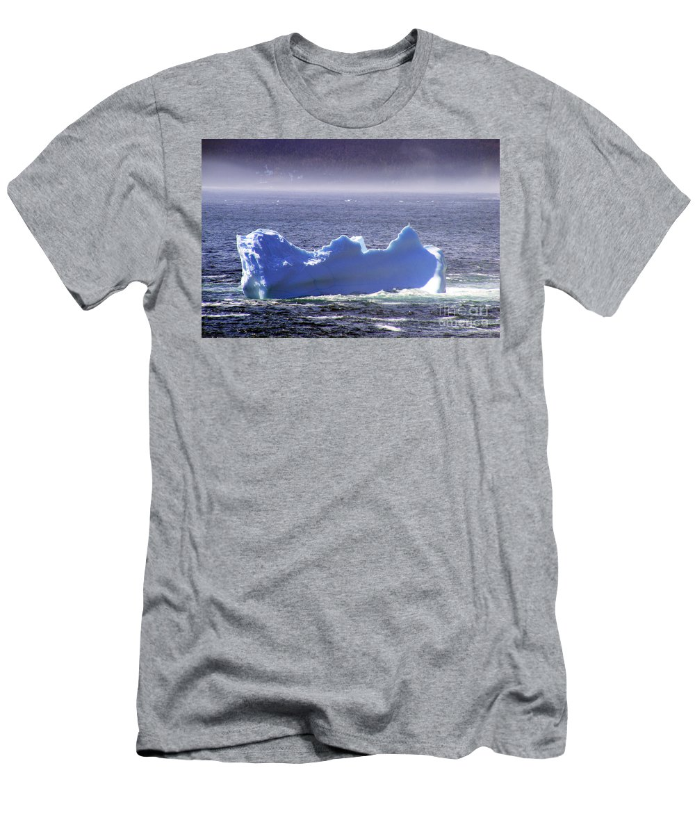 Icebergs Men's T-Shirt (Athletic Fit) featuring the photograph Iceberg Floating By by Barbara Griffin