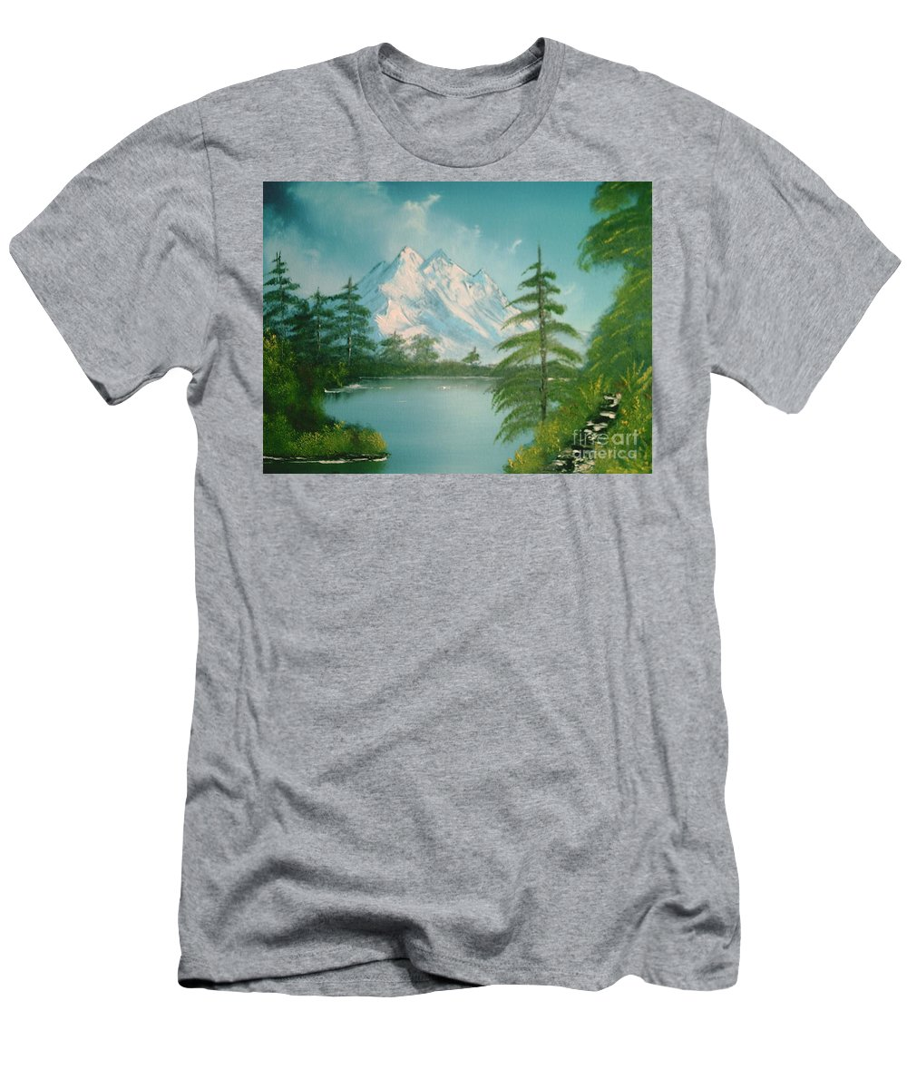 Lake Men's T-Shirt (Athletic Fit) featuring the painting Mountain High by Jim Saltis