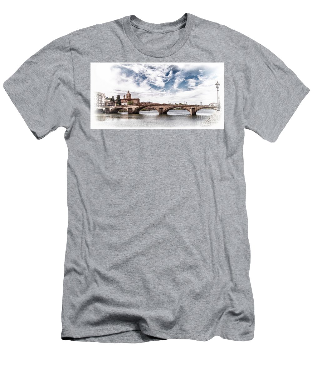 Italy Men's T-Shirt (Athletic Fit) featuring the photograph Ponte Alla Carraia, Firenze by Igor Sitnikov