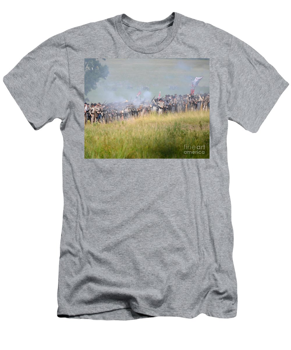 150th Men's T-Shirt (Athletic Fit) featuring the photograph Gettysburg Confederate Infantry 7503c by Cynthia Staley