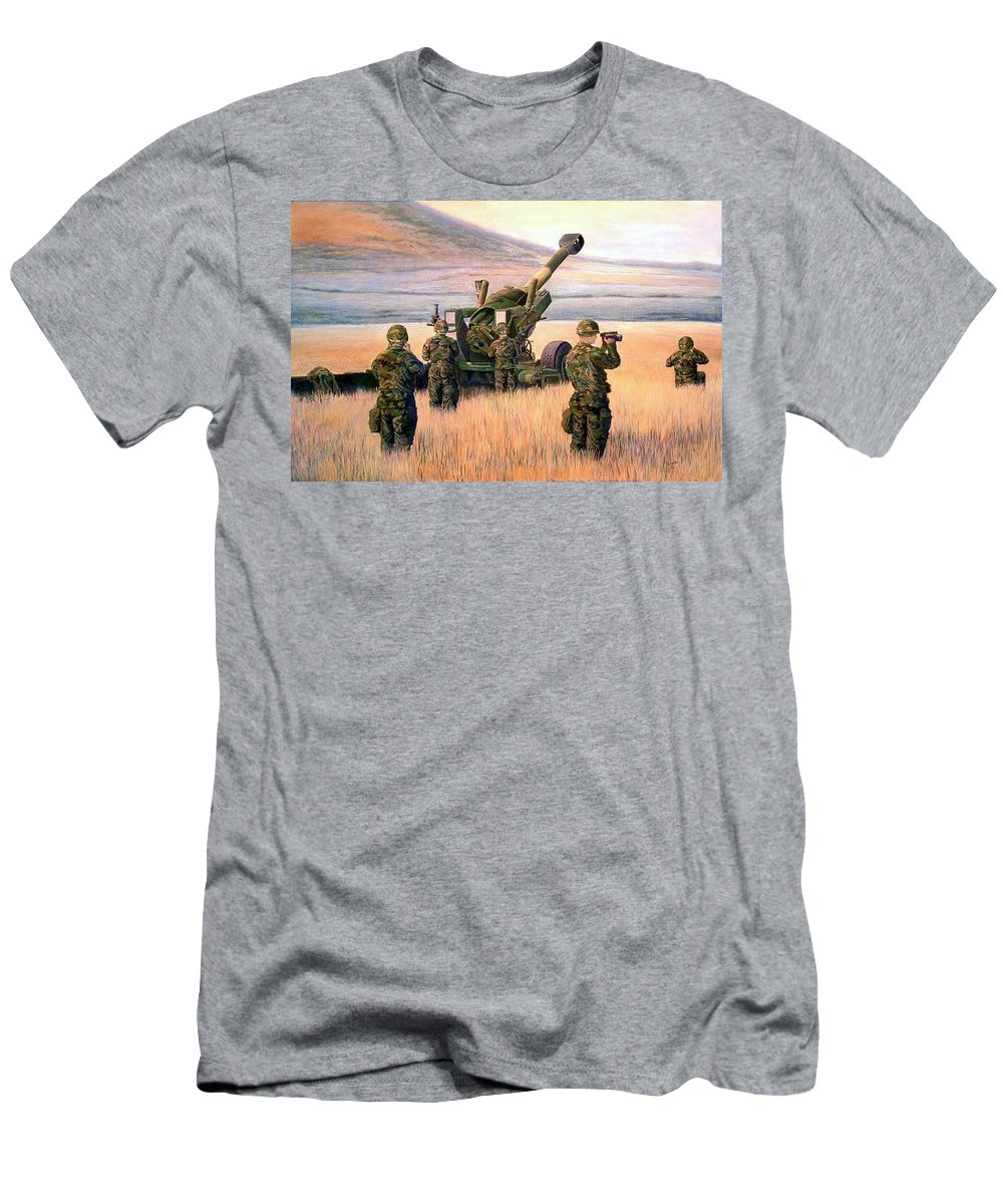 Signed And Numbered Prints Of The Montana National Guard Men's T-Shirt (Athletic Fit) featuring the print 1-190th Artillery by Scott Robertson