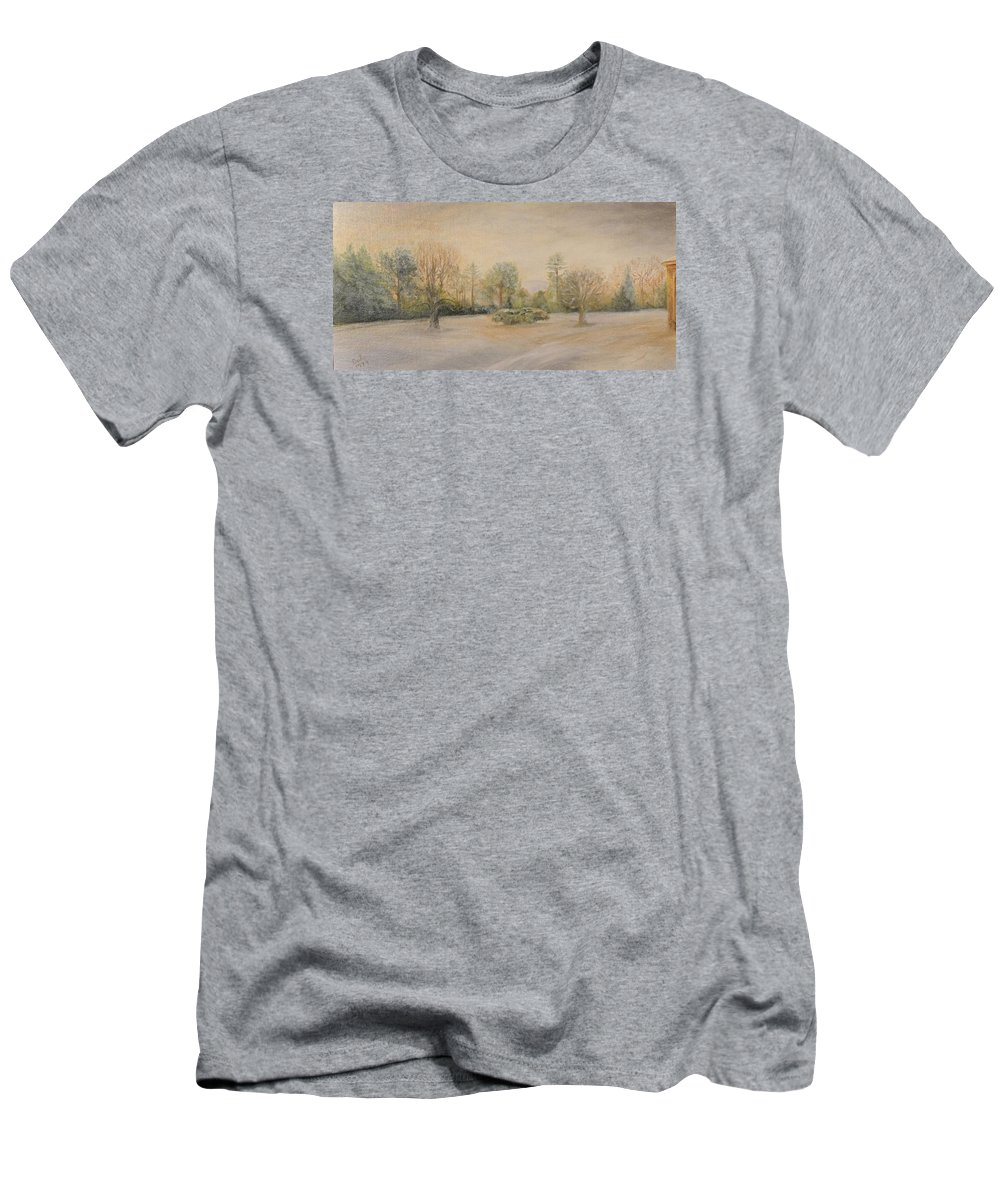 Landscape Men's T-Shirt (Athletic Fit) featuring the painting A Snowy Morn At Dalhebity by Douglas Ann Slusher