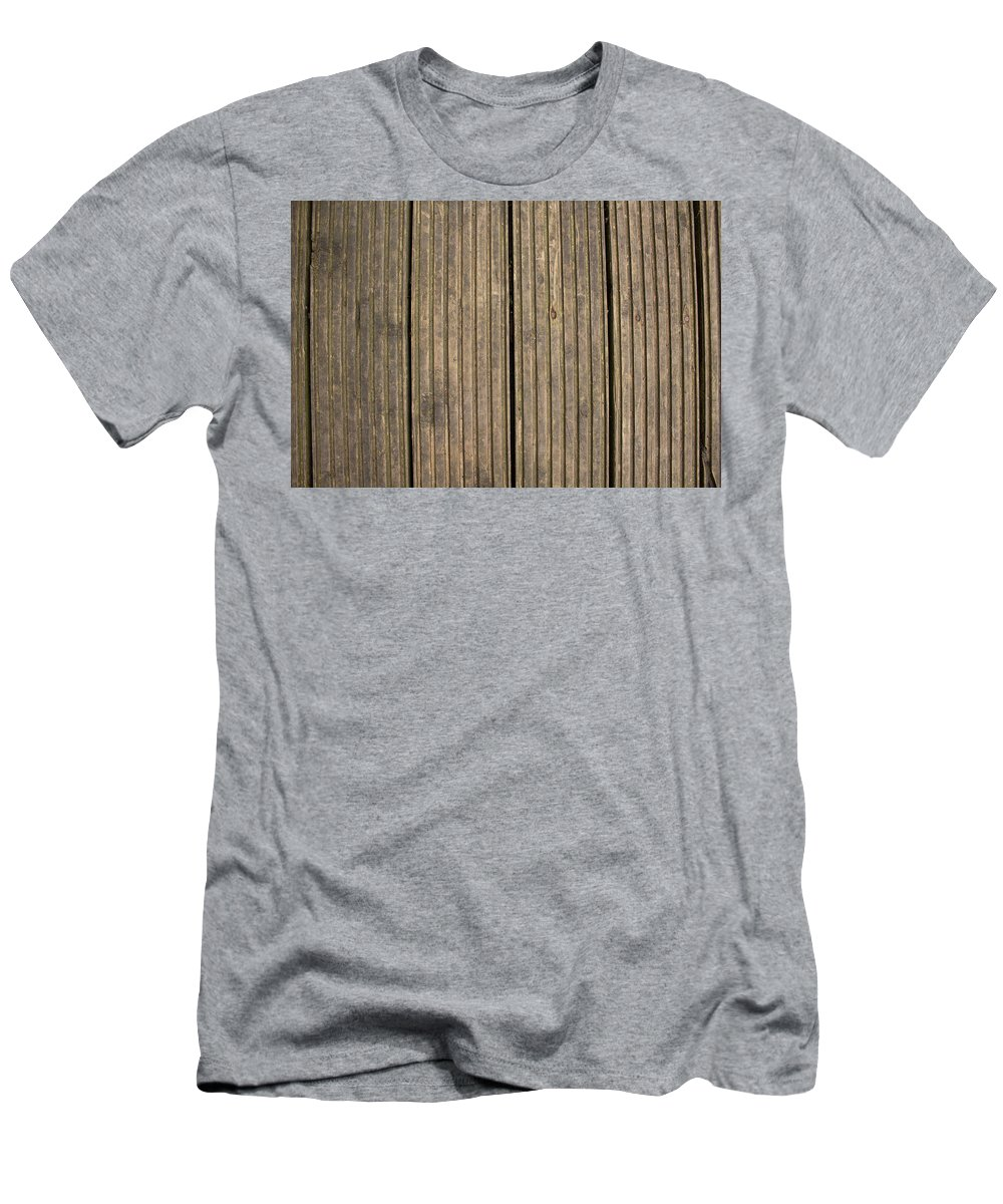 Wood Men's T-Shirt (Athletic Fit) featuring the photograph A Wood Panel Background, Floor, Wall, Texture by Rikki Prince