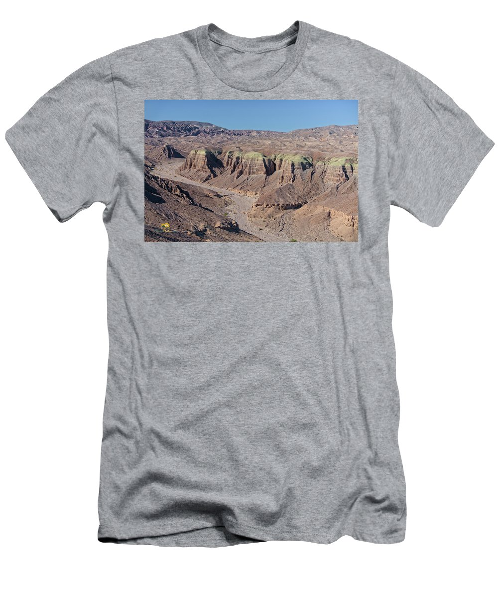 Aerial Shots Men's T-Shirt (Athletic Fit) featuring the photograph Afton Canyon by Jim Thompson
