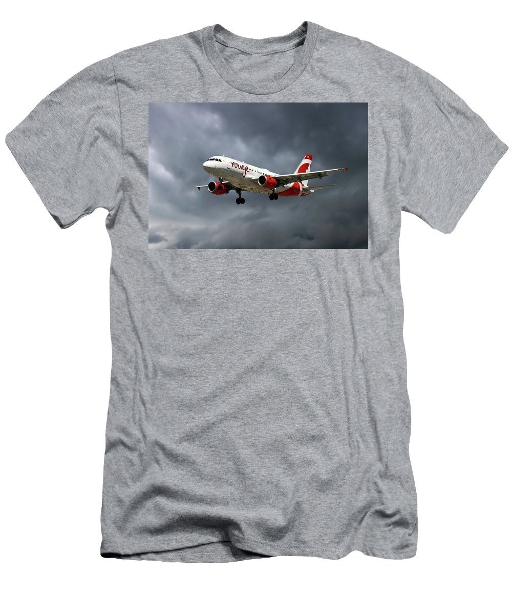 Air Canada Rouge Men's T-Shirt (Athletic Fit) featuring the photograph Air Canada Rouge Airbus A319-114 by Smart Aviation