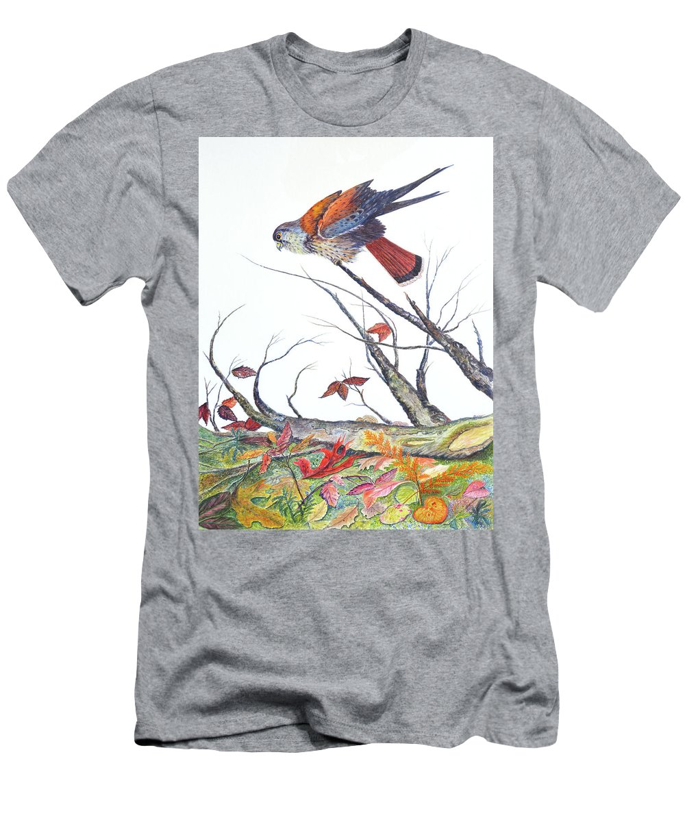 Bird T-Shirt featuring the painting American Kestrel by Ben Kiger