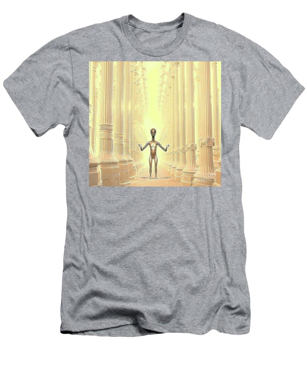 Ufo Men's T-Shirt (Athletic Fit) featuring the digital art Ancient Alien Angel by Raphael Terra