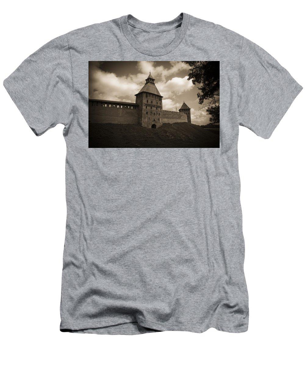 Ivea Men's T-Shirt (Athletic Fit) featuring the photograph Ancient Walls. Sepia by Elena Ivanova IvEA