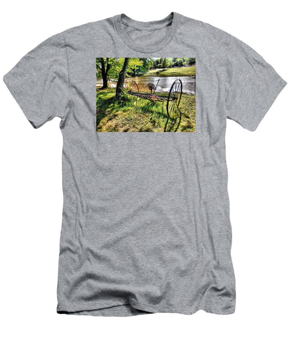 Antique Farm Equipment Men's T-Shirt (Athletic Fit) featuring the painting Antique Farm Equipment 1 by Jeelan Clark