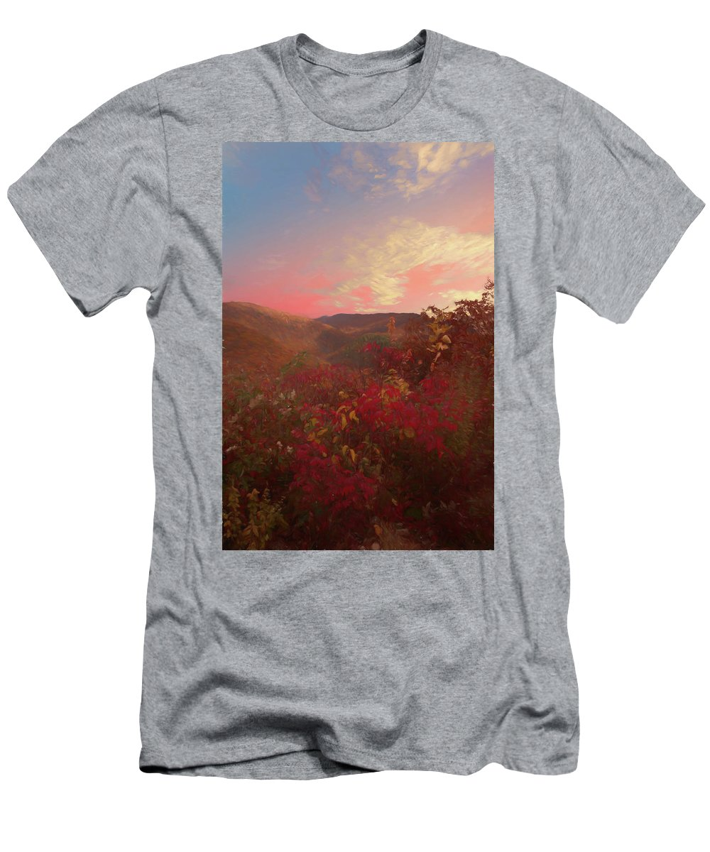 Autumn Men's T-Shirt (Athletic Fit) featuring the photograph Autumn In The Rolling Hills by Rusty R Smith
