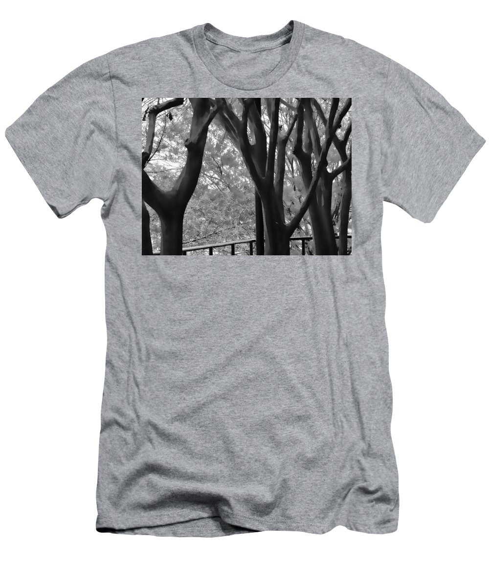Black And White Men's T-Shirt (Athletic Fit) featuring the digital art Bare Trees by Karen Matthews