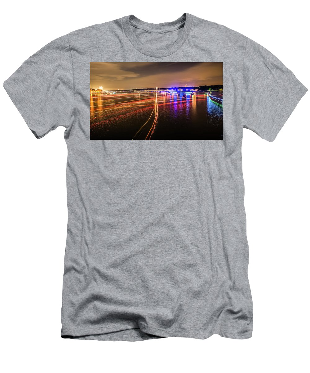 Sun Men's T-Shirt (Athletic Fit) featuring the photograph Boats Light Trails On Lake Wylie After 4th Of July Fireworks by Alex Grichenko