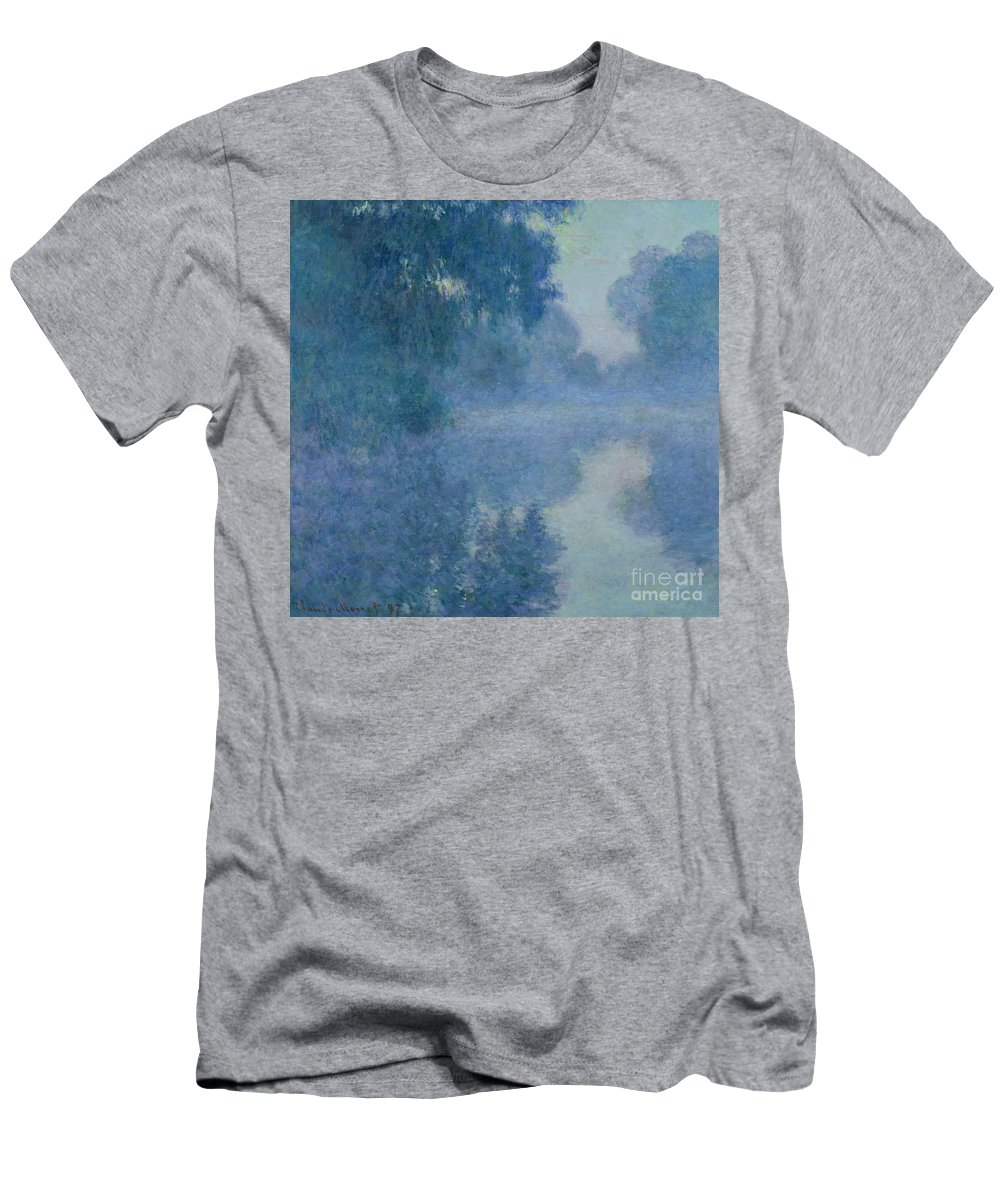 Impressionist; River; Reflection; Fog; Foggy; Misty; Mist; Branch; Seine; Giverny; Claude Monet; Monet; Tree; Trees Men's T-Shirt (Athletic Fit) featuring the painting Branch Of The Seine Near Giverny by Claude Monet
