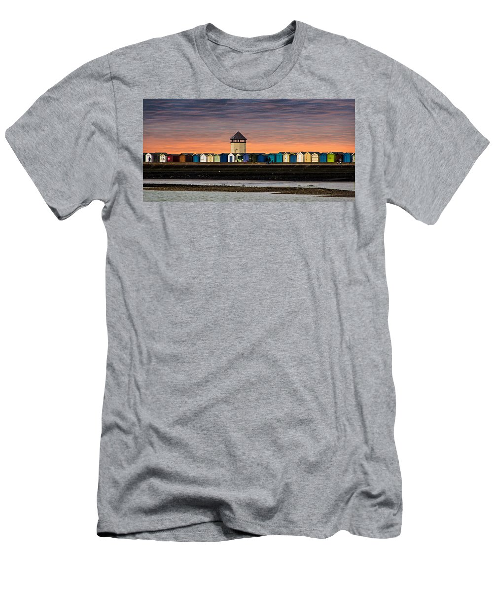 Beach Men's T-Shirt (Athletic Fit) featuring the photograph Brightlingsea Essex by Martin Newman