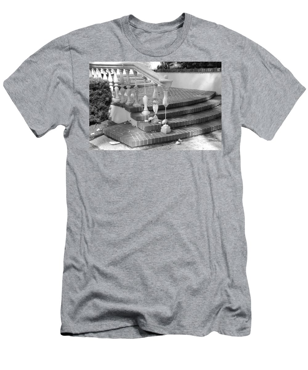 Street Scene Men's T-Shirt (Athletic Fit) featuring the photograph Broken Rail by Rob Hans
