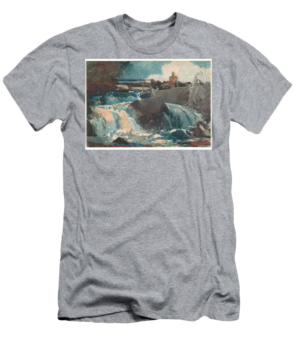 Casting In The Falls Men's T-Shirt (Athletic Fit) featuring the painting Casting In The Falls by Winslow Homer