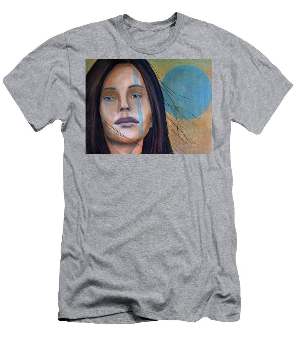 Cherokee Men's T-Shirt (Athletic Fit) featuring the painting Cherokee Moon by Pablo DeLuna
