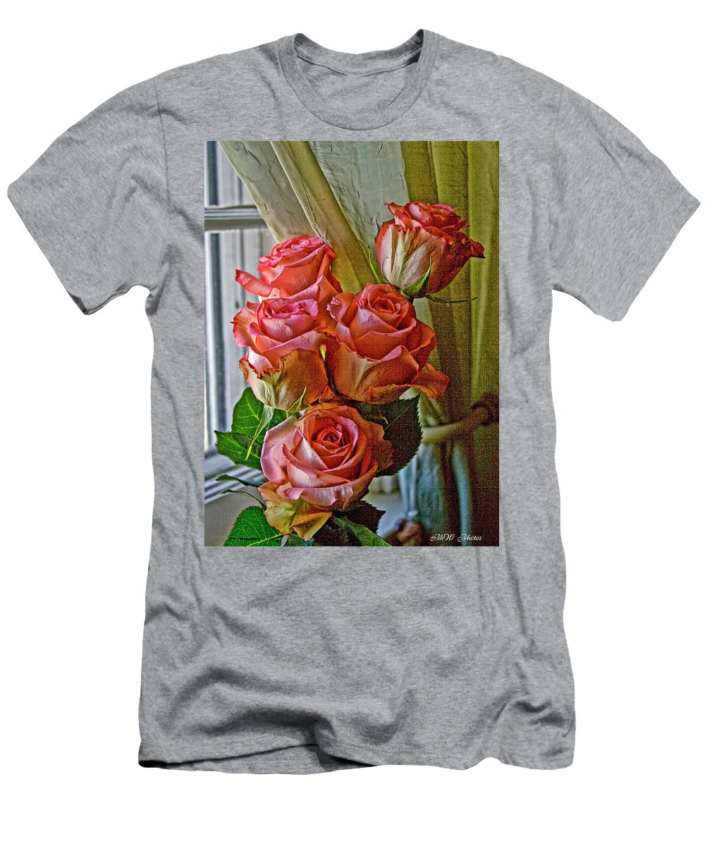 Roses Men's T-Shirt (Athletic Fit) featuring the photograph Cindy's Roses by Bonnie Willis