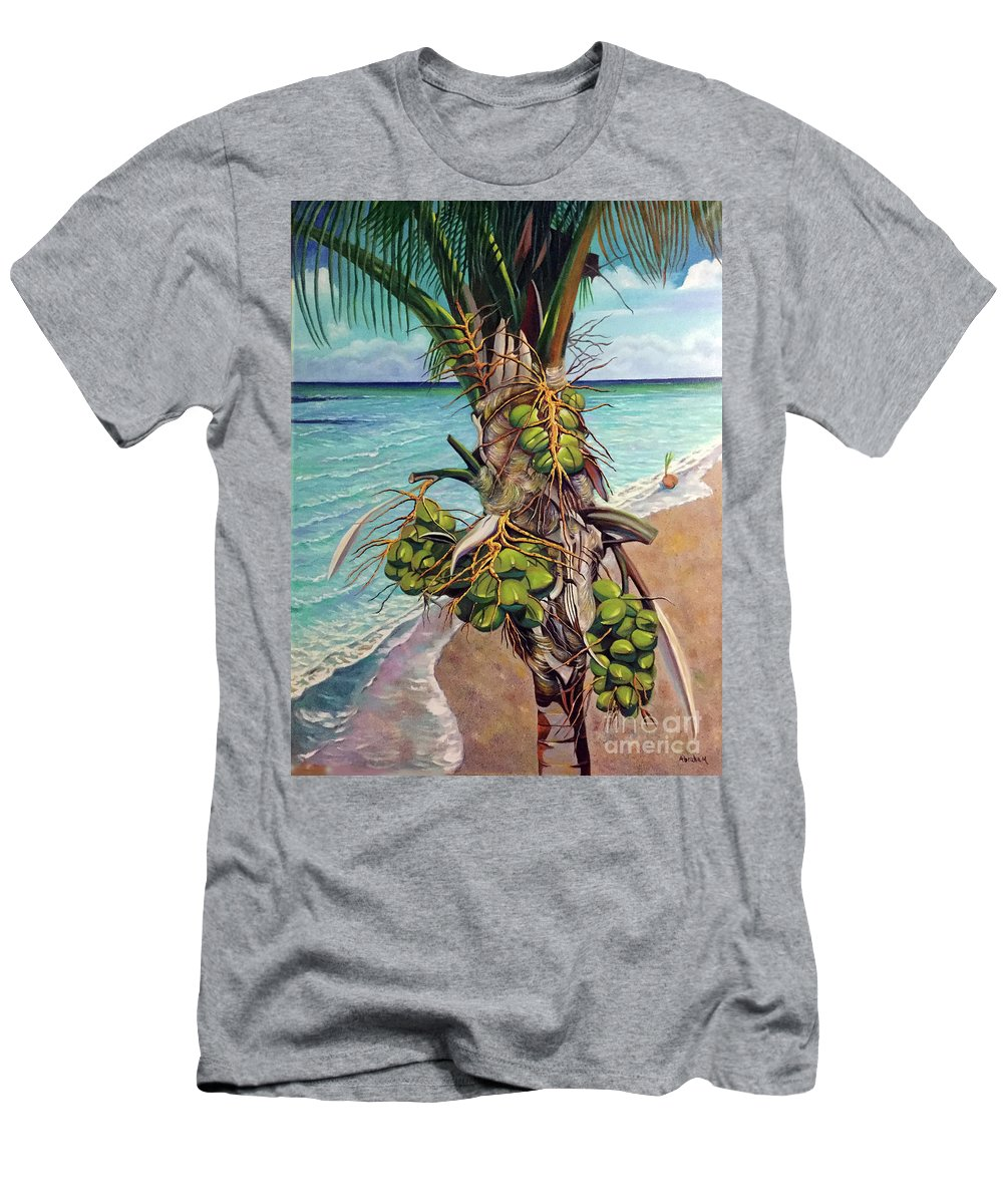 Coconuts T-Shirt featuring the painting Coconuts on beach by Jose Manuel Abraham