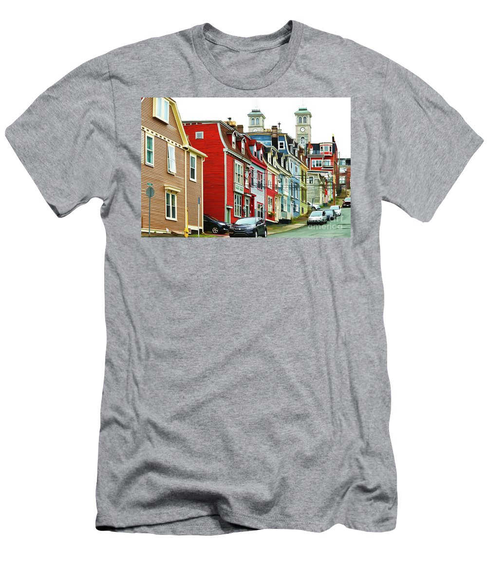 St.john's Men's T-Shirt (Athletic Fit) featuring the digital art Colorful Houses In St. Johns In Newfoundland by Les Palenik