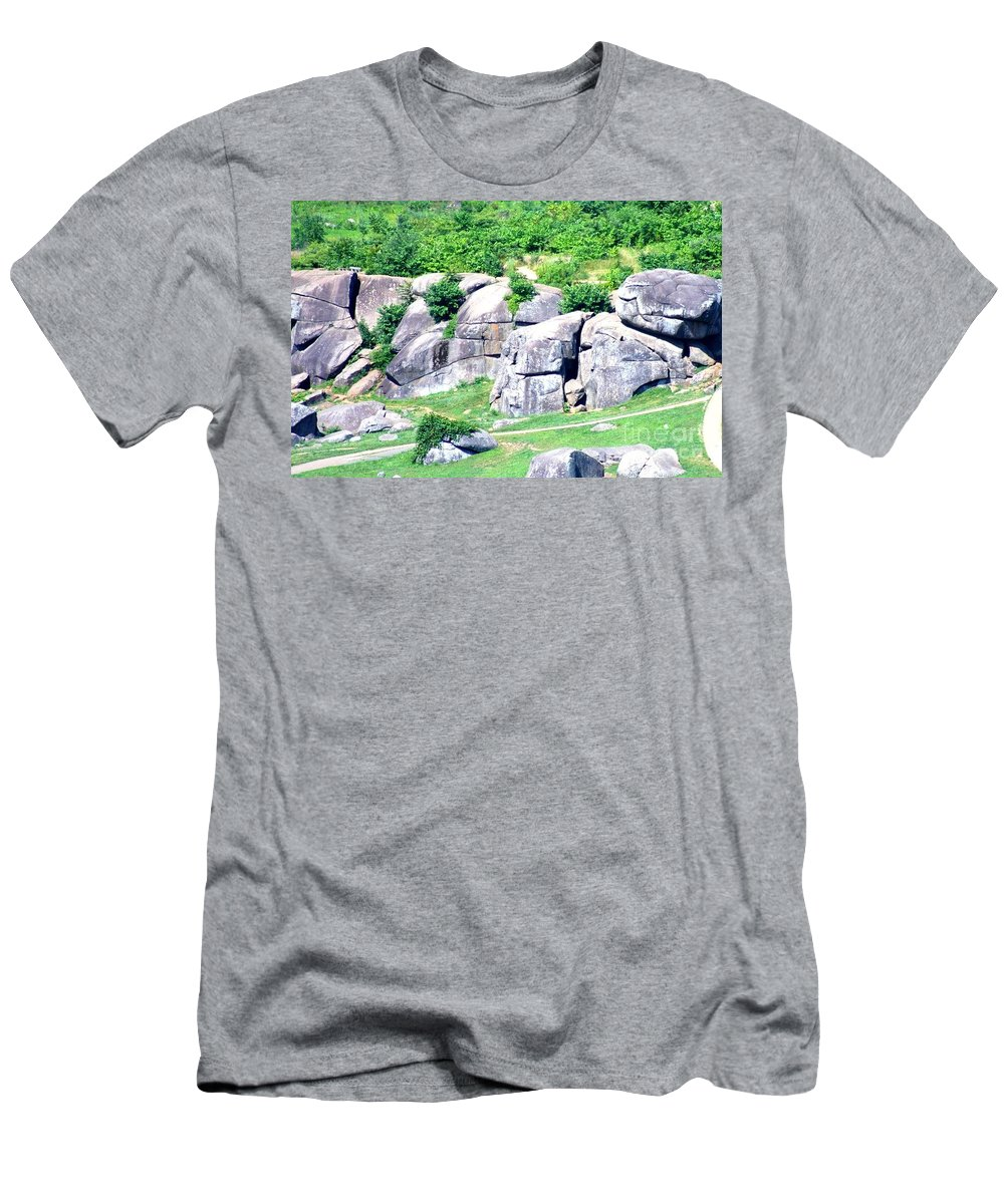 This Is A Photo Taken From Little Round Top Of Devil's Den On The Gettysburg Battlefield Men's T-Shirt (Athletic Fit) featuring the photograph Devil's Den by William Rogers