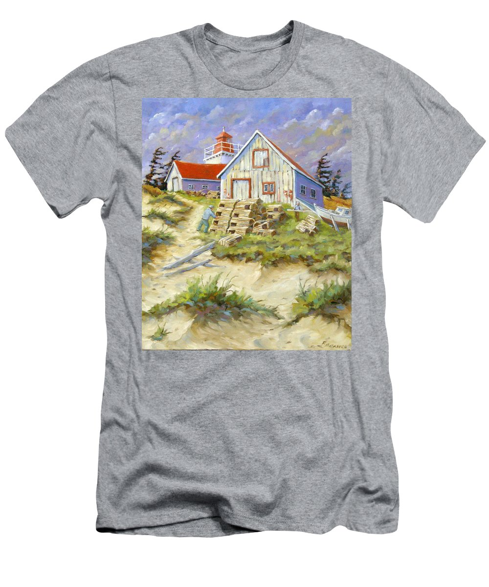 Art Men's T-Shirt (Athletic Fit) featuring the painting End Of Lobster Season by Richard T Pranke