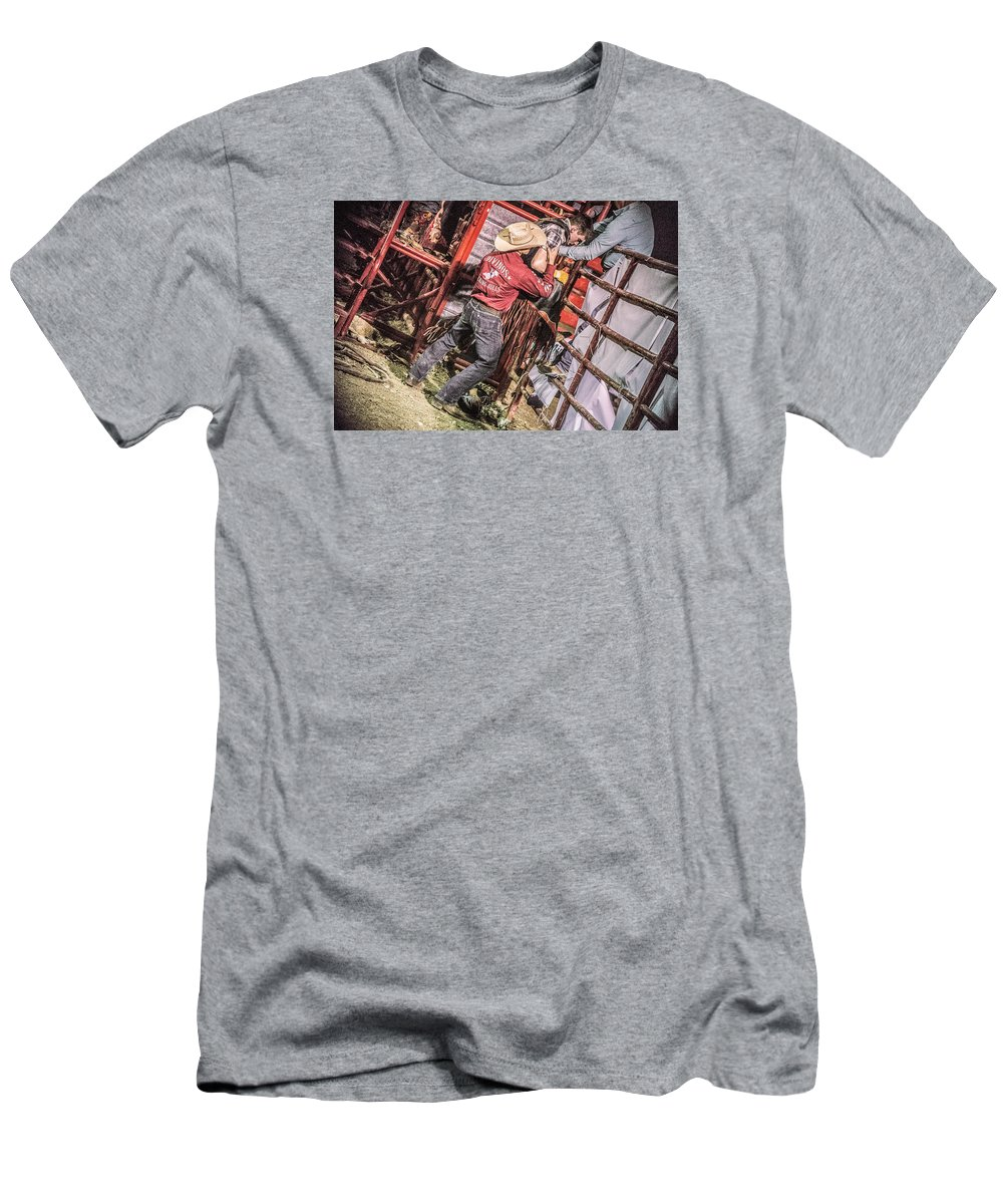 Orange & Blue Rodeo Men's T-Shirt (Athletic Fit) featuring the photograph F by Terry Brown