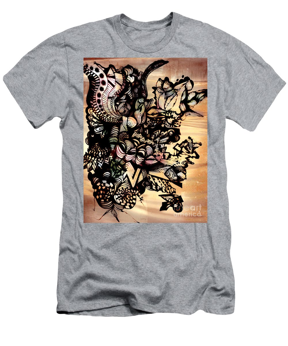 Abstract Art Men's T-Shirt (Athletic Fit) featuring the drawing Flower by Beth Aragon