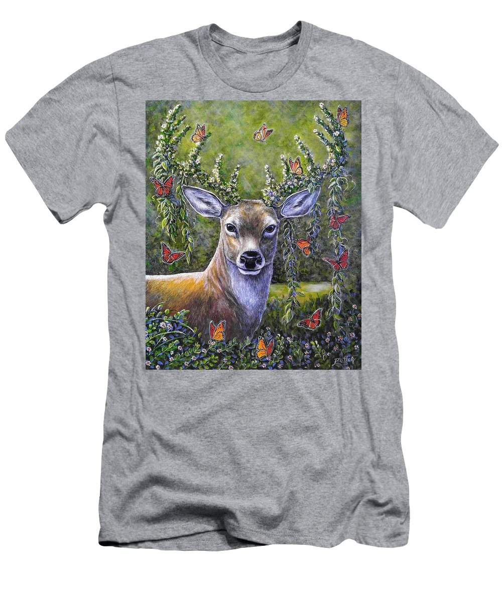 Deer Stag Forest Nature Butterfly Men's T-Shirt (Athletic Fit) featuring the painting Forest Monarch by Gail Butler