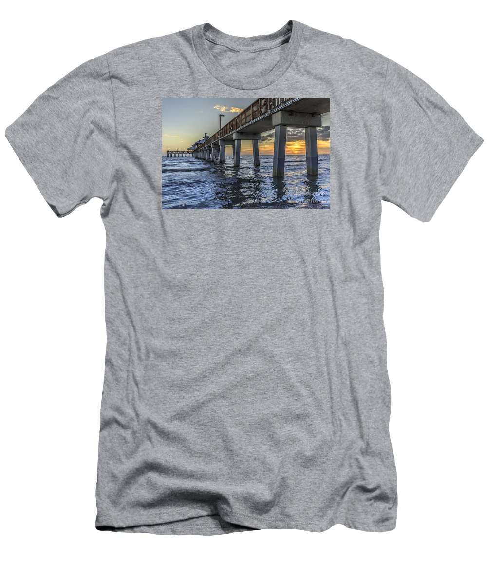 Christmas Men's T-Shirt (Athletic Fit) featuring the photograph Fort Myers Beach Fishing Pier 2 by Edward Fielding