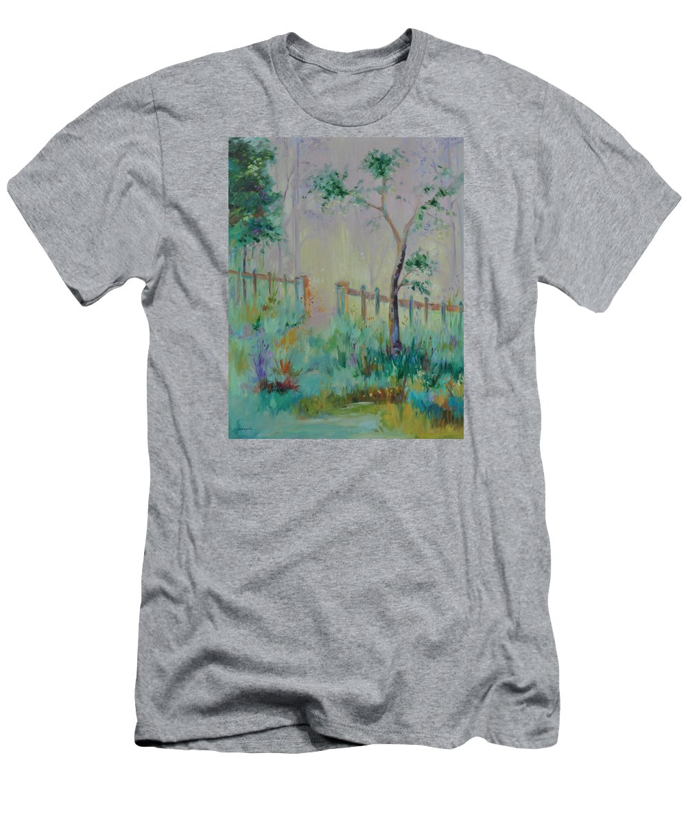 Garden Men's T-Shirt (Athletic Fit) featuring the painting Garden And Beyond by Ginger Concepcion