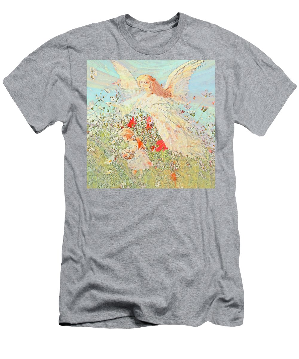 Guardian Angel Men's T-Shirt (Athletic Fit) featuring the mixed media Gathering Flowers by Amelia Carrie