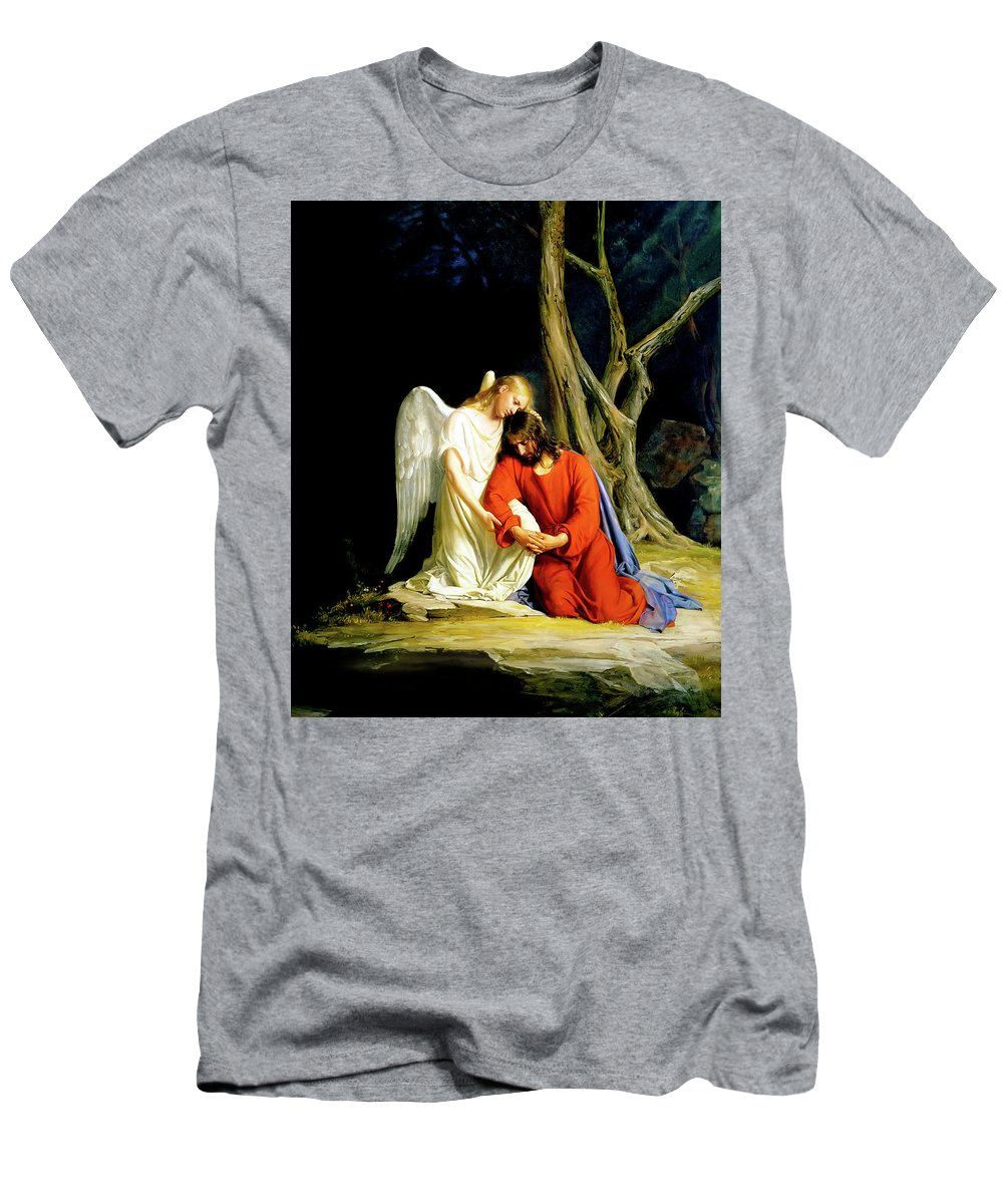 Gethsemane Men's T-Shirt (Athletic Fit) featuring the painting Gethsemane by Carl Bloch