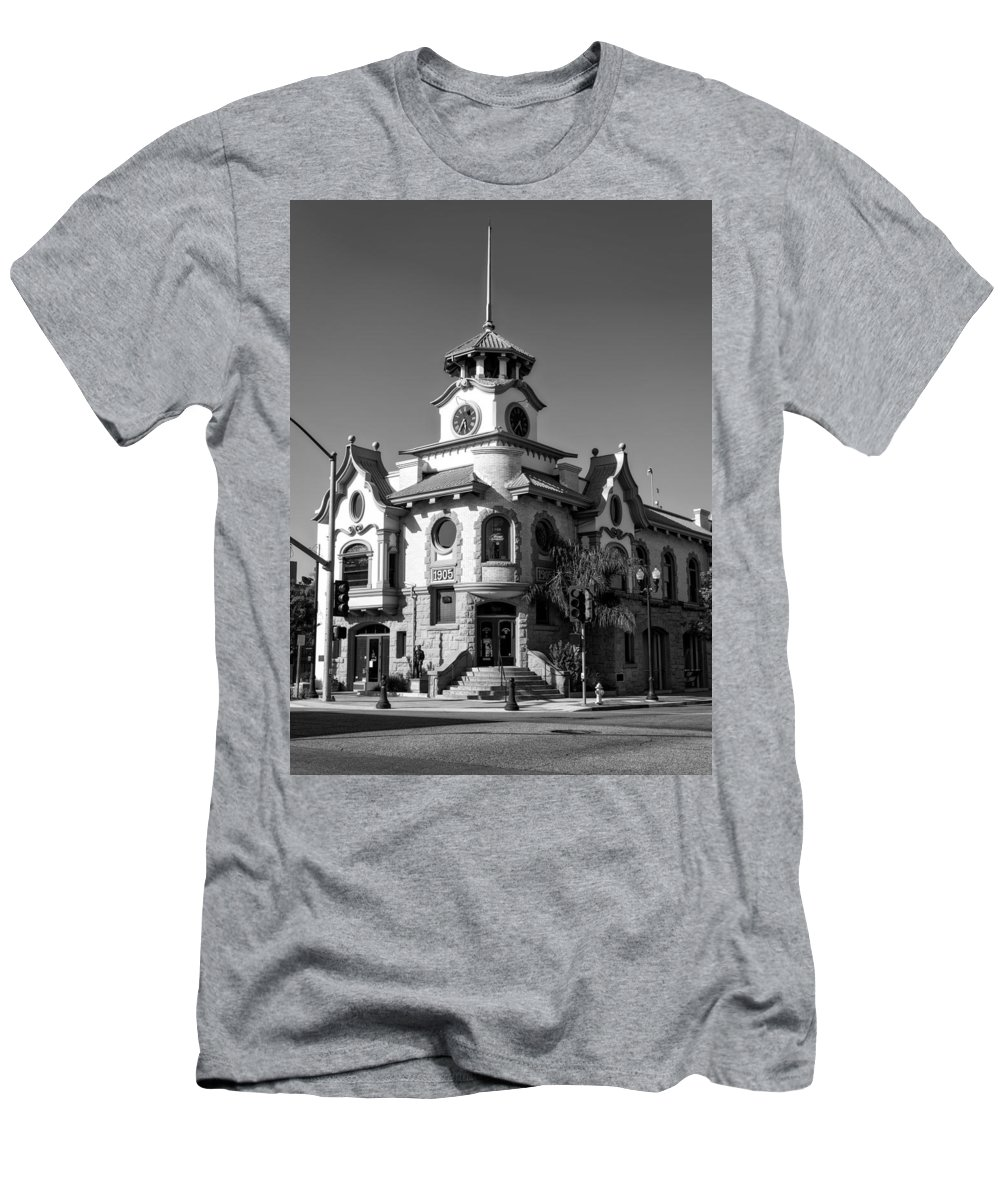 Gilroy Men's T-Shirt (Athletic Fit) featuring the photograph Gilroy's Old City Hall by Mountain Dreams