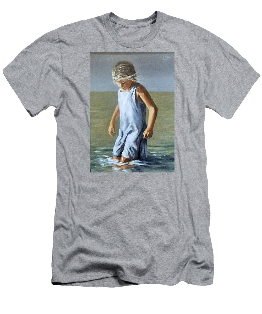 Girl Children Reflection Water Sea Figurative Portrait Men's T-Shirt (Athletic Fit) featuring the painting Girl by Natalia Tejera