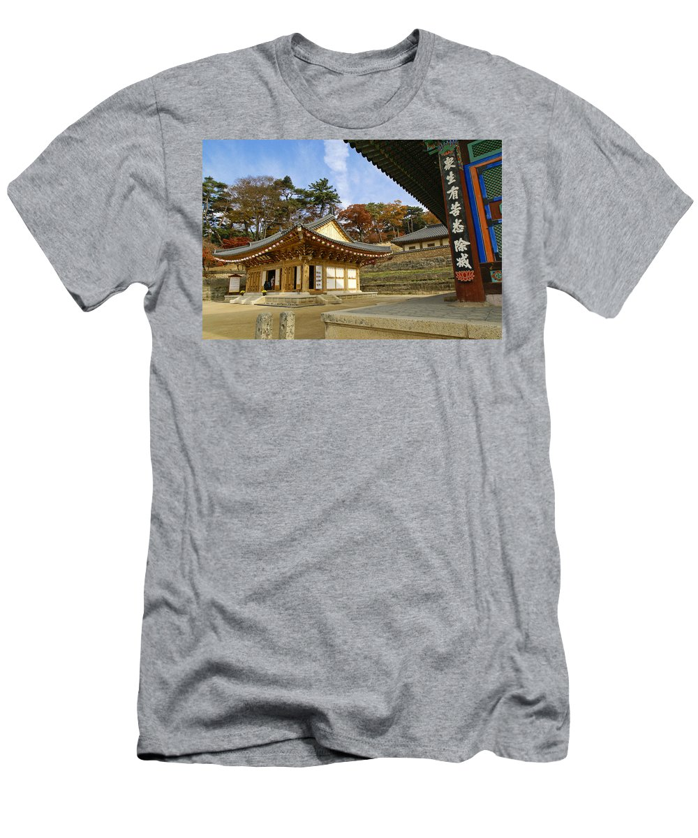 Buddhist Men's T-Shirt (Athletic Fit) featuring the photograph Haeinsa Buddhist Temple 1 by Michele Burgess
